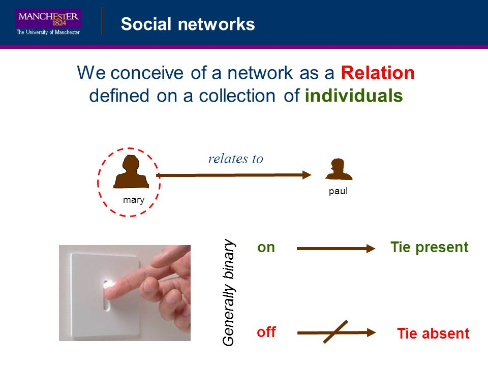 Social networks mary paul We conceive of a network as a Relation defined on a collection of individuals relates to on off Generally binary Tie present Tie absent