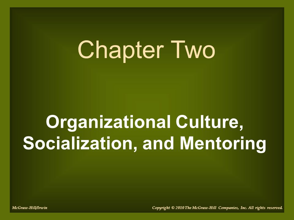 Organizational Culture, Socialization, and Mentoring Chapter Two Copyright © 2010 The McGraw-Hill Companies, Inc. All rights reserved.McGraw-Hill/Irwi