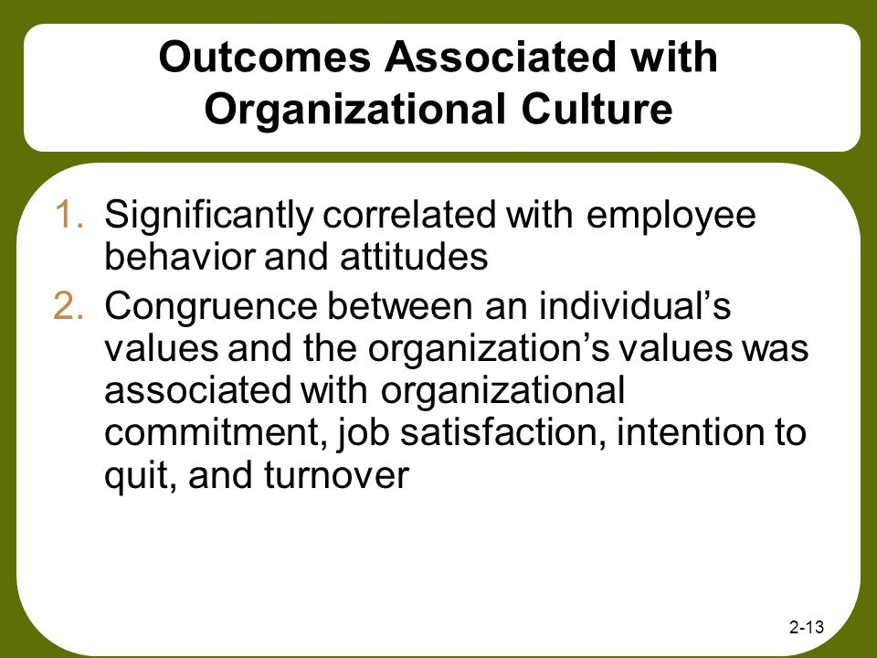 2-13 Outcomes Associated with Organizational Culture 1.Significantly correlated with employee behavior and attitudes 2.Congruence between an individua