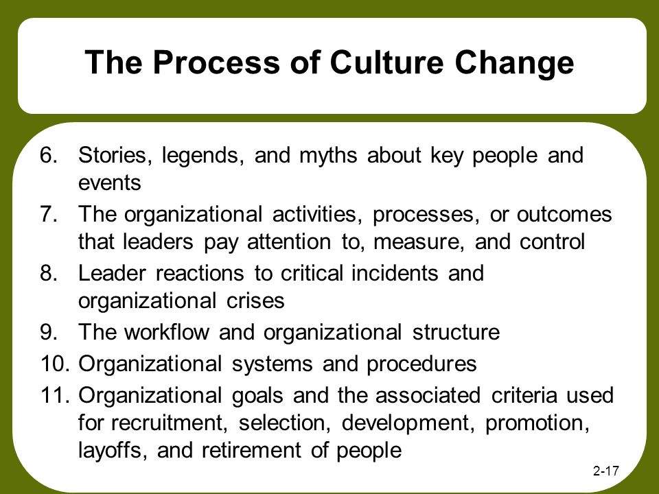 2-17 The Process of Culture Change 6.Stories, legends, and myths about key people and events 7.The organizational activities, processes, or outcomes t