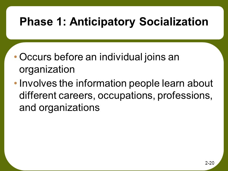 2-20 Phase 1: Anticipatory Socialization Occurs before an individual joins an organization Involves the information people learn about different caree