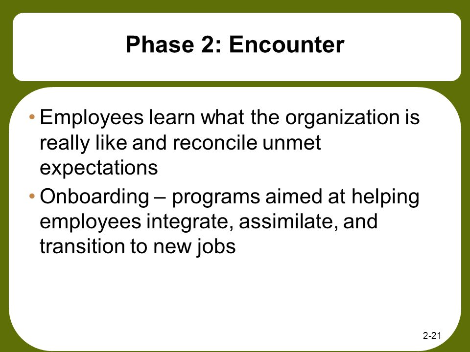 2-21 Phase 2: Encounter Employees learn what the organization is really like and reconcile unmet expectations Onboarding – programs aimed at helping e