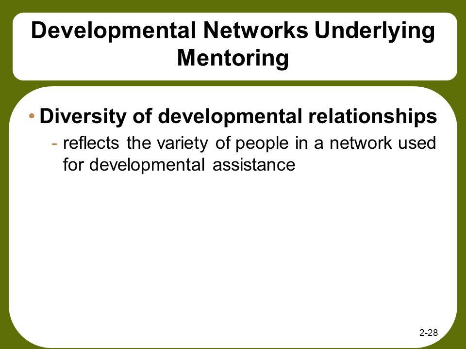 2-28 Developmental Networks Underlying Mentoring Diversity of developmental relationships -reflects the variety of people in a network used for develo