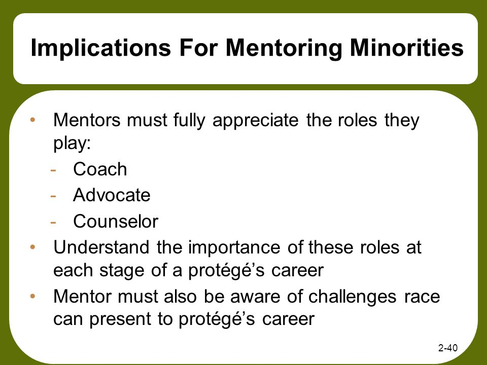 Implications For Mentoring Minorities Mentors must fully appreciate the roles they play: -Coach -Advocate -Counselor Understand the importance of thes