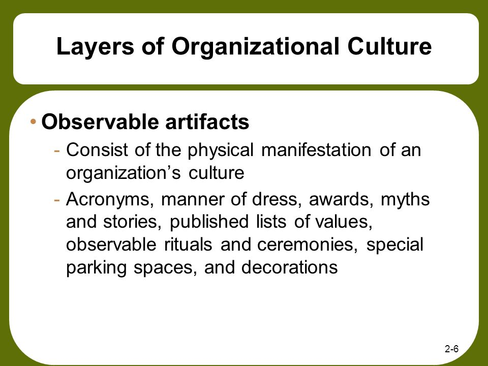 2-6 Layers of Organizational Culture Observable artifacts -Consist of the physical manifestation of an organizations culture -Acronyms, manner of dres