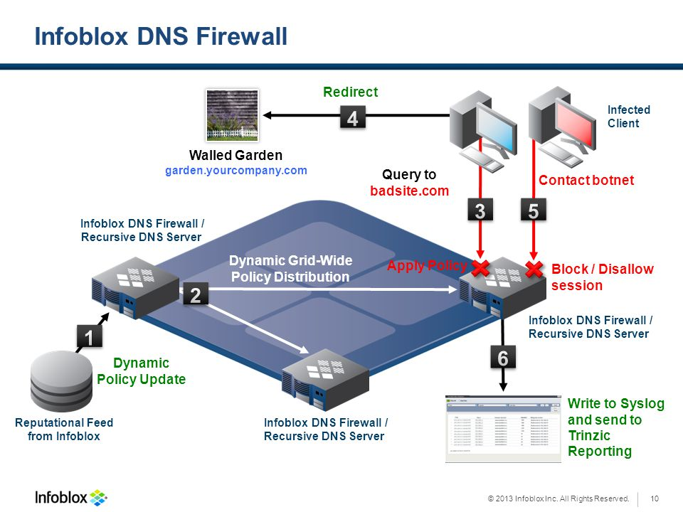 © 2013 Infoblox Inc. All Rights Reserved. Write to Syslog and send to Trinzic Reporting Infoblox DNS Firewall Reputational Feed from Infoblox Walled G