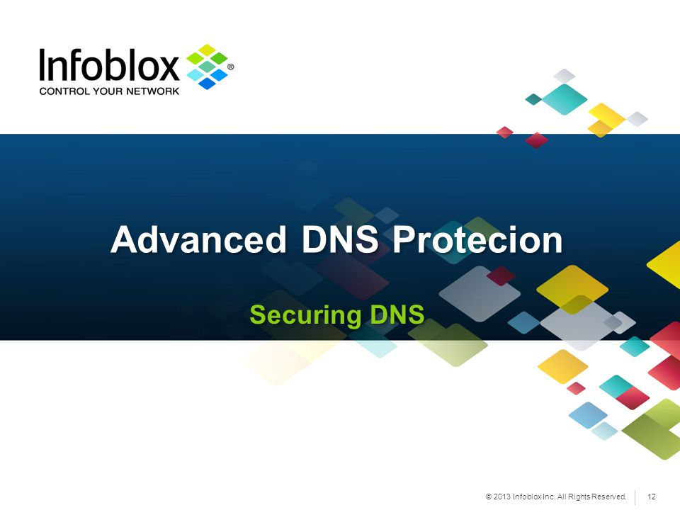 © 2013 Infoblox Inc. All Rights Reserved. Securing DNS Advanced DNS Protecion 12
