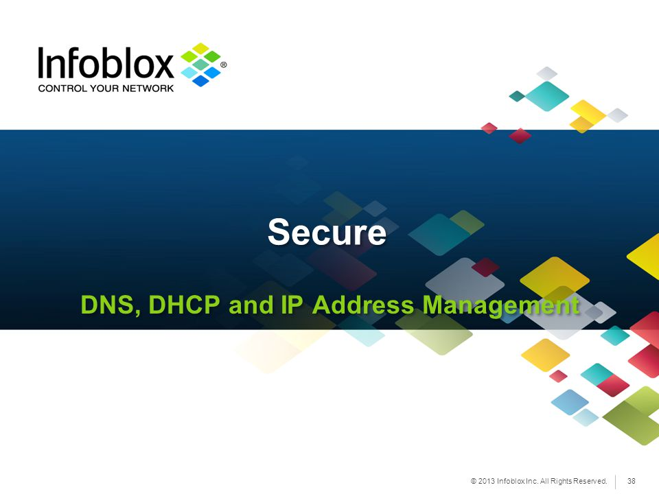 © 2013 Infoblox Inc. All Rights Reserved. DNS, DHCP and IP Address Management Secure 38