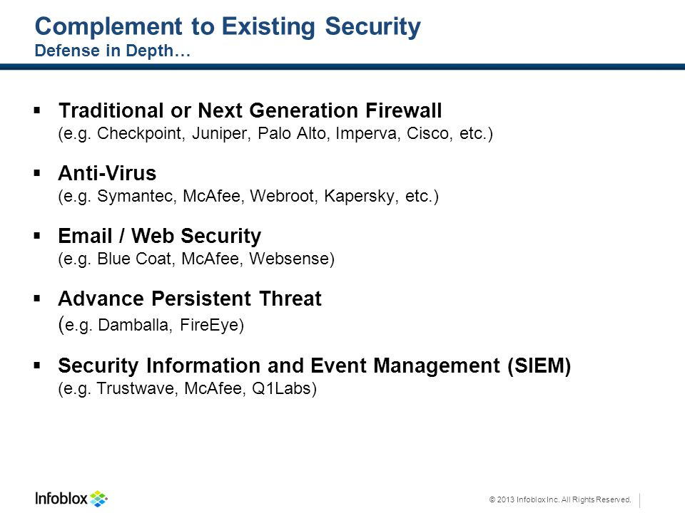 © 2013 Infoblox Inc. All Rights Reserved. Complement to Existing Security Defense in Depth… Traditional or Next Generation Firewall (e.g. Checkpoint,