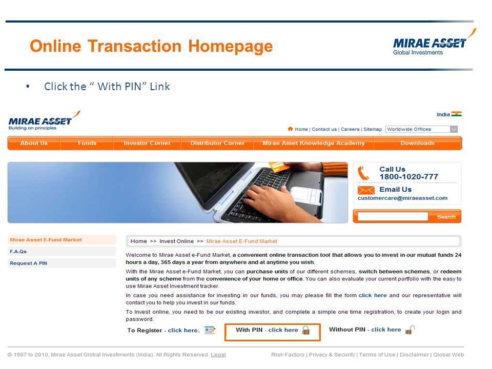 Online Transaction Homepage Click the With PIN Link