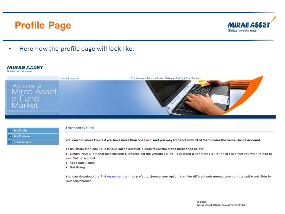 Profile Page Here how the profile page will look like.