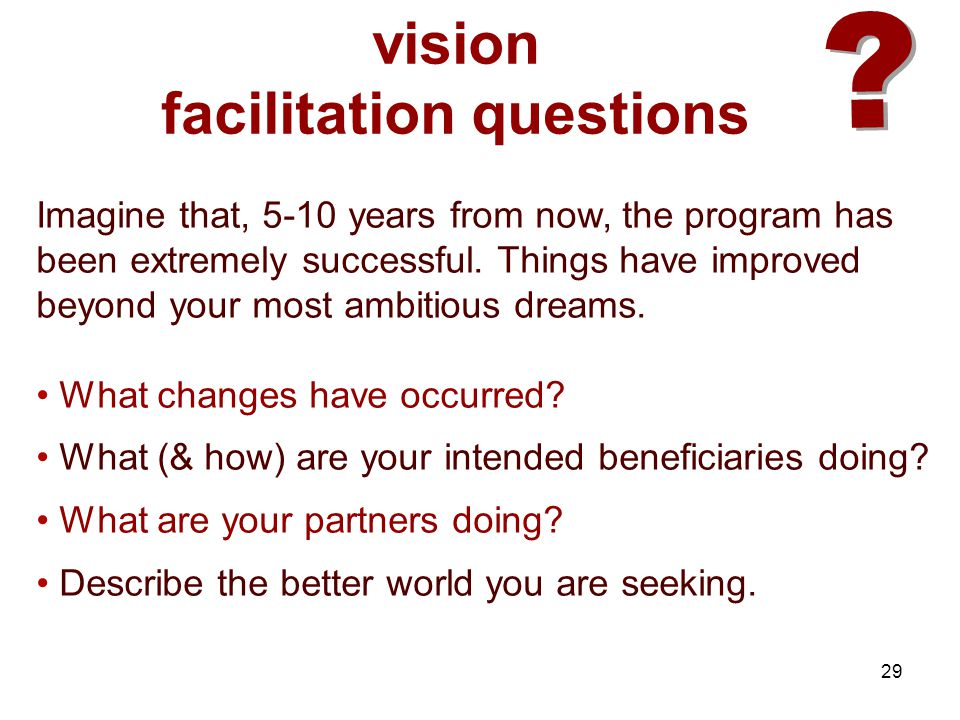 29 ? ? vision facilitation questions Imagine that, 5-10 years from now, the program has been extremely successful. Things have improved beyond your mo
