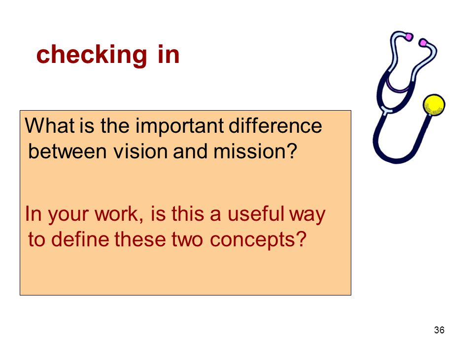 36 checking in What is the important difference between vision and mission.
