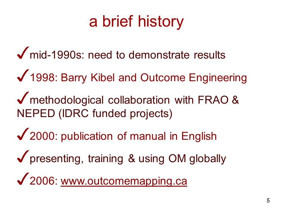 5 mid-1990s: need to demonstrate results 1998: Barry Kibel and Outcome Engineering methodological collaboration with FRAO & NEPED (IDRC funded projects) 2000: publication of manual in English presenting, training & using OM globally 2006: www.outcomemapping.ca a brief history