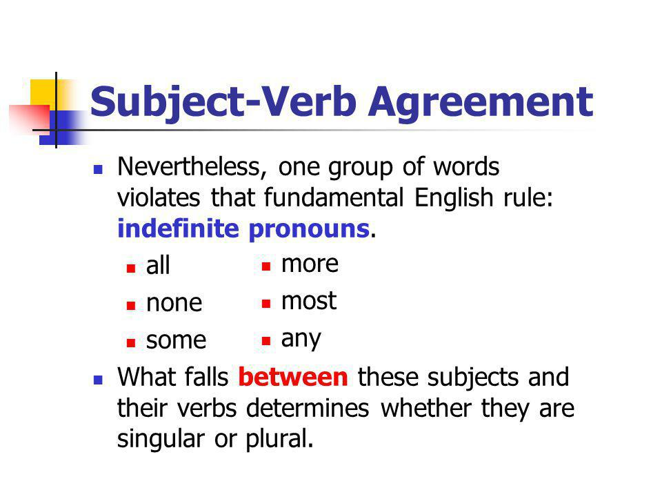 Subject-Verb Agreement Nevertheless, one group of words violates that fundamental English rule: indefinite pronouns. all none some What falls between