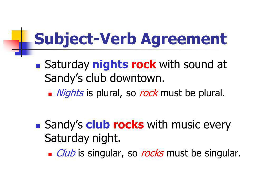 Subject-Verb Agreement To make a noun plural, add –s.