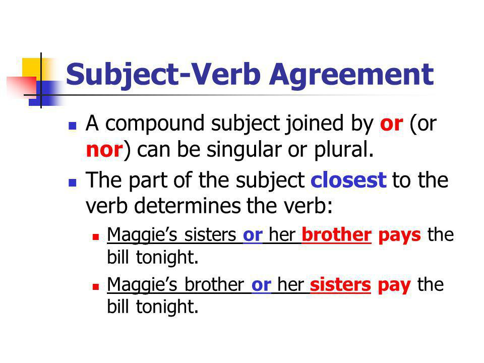 Subject-Verb Agreement A compound subject joined by or (or nor) can be singular or plural.