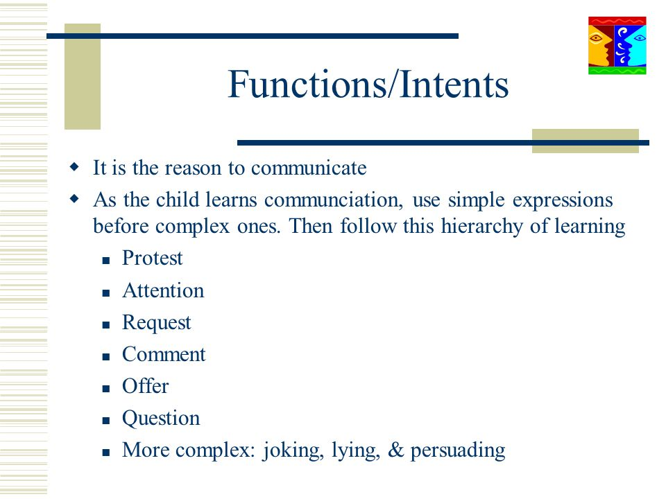 Functions/Intents It is the reason to communicate As the child learns communciation, use simple expressions before complex ones. Then follow this hier