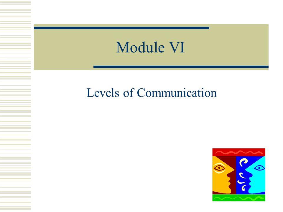 Module VI Levels of Communication