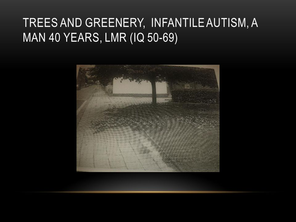 TREES AND GREENERY, INFANTILE AUTISM, A MAN 40 YEARS, LMR (IQ 50-69)