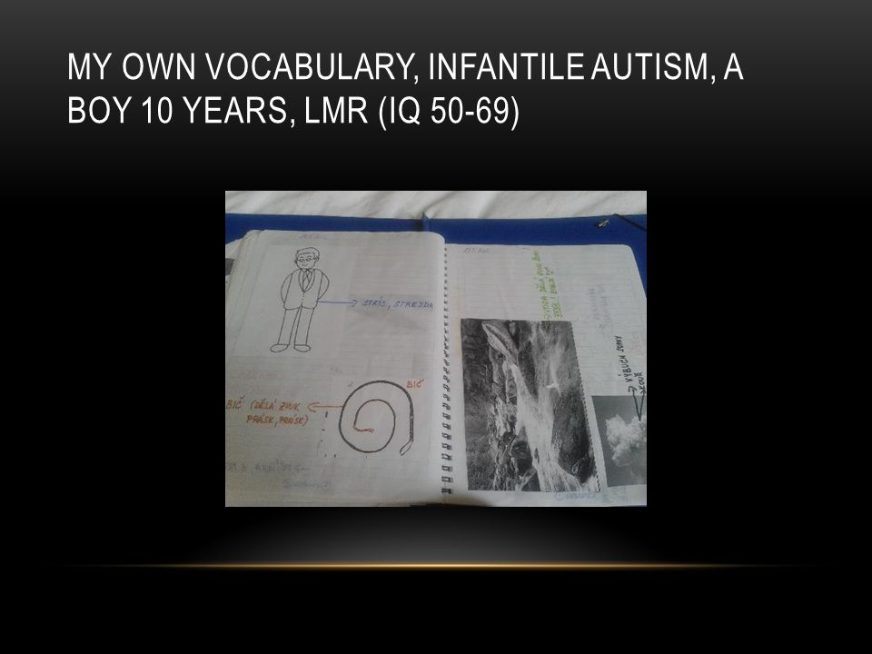 MY OWN VOCABULARY, INFANTILE AUTISM, A BOY 10 YEARS, LMR (IQ 50-69)