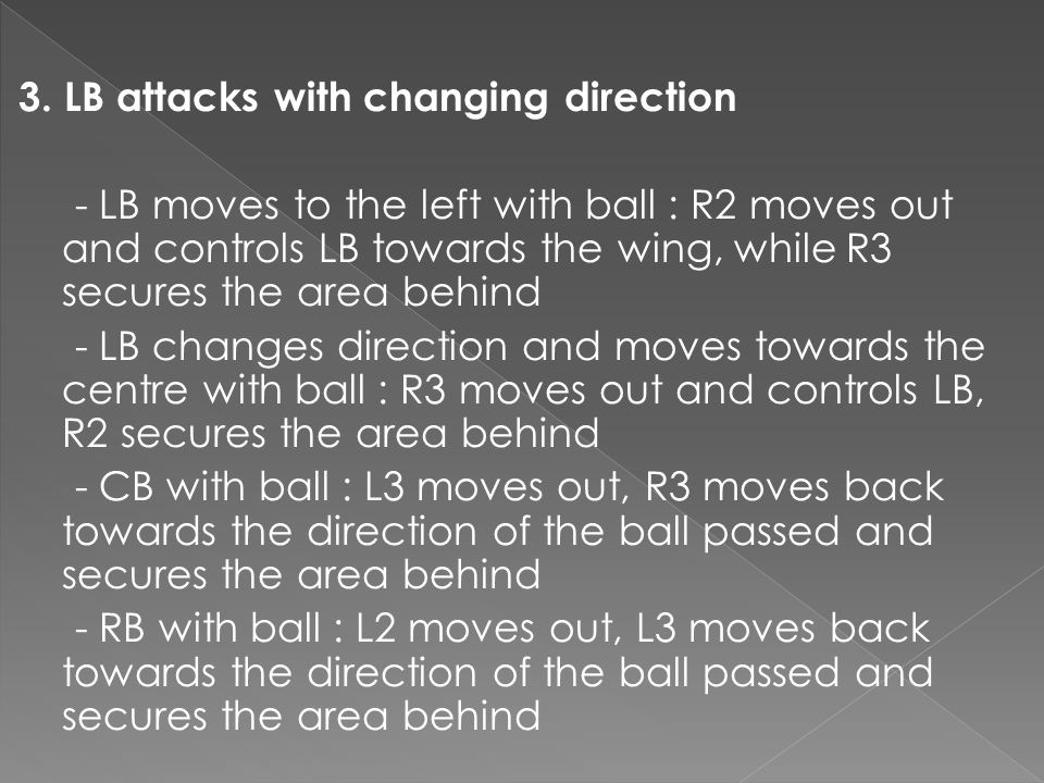 3. LB attacks with changing direction - LB moves to the left with ball : R2 moves out and controls LB towards the wing, while R3 secures the area behi