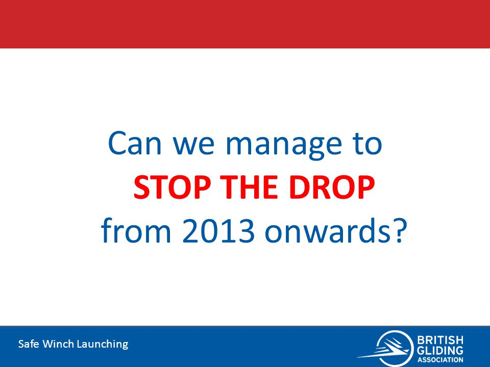 Safe Winch Launching Can we manage to STOP THE DROP from 2013 onwards?