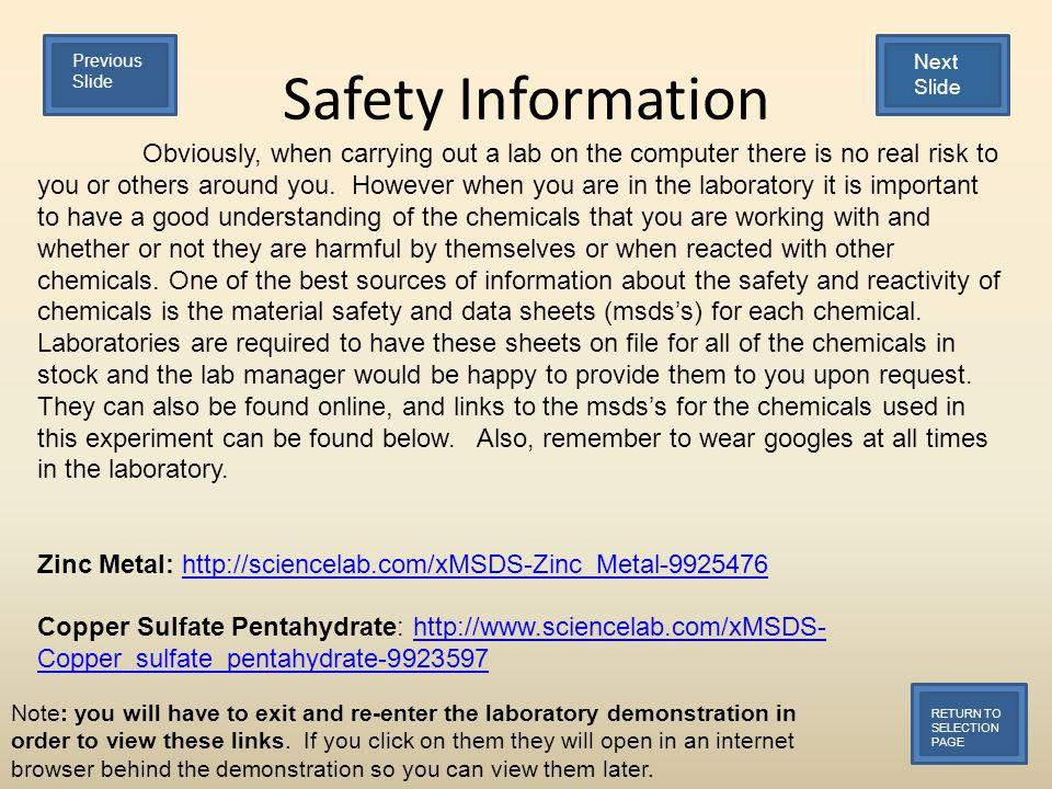 Safety Information RETURN TO SELECTION PAGE Obviously, when carrying out a lab on the computer there is no real risk to you or others around you.