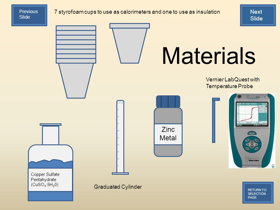 7 styrofoam cups to use as calorimeters and one to use as insulation Copper Sulfate Pentahydrate (CuSO 4 ·5H 2 0) Graduated Cylinder Vernier LabQuest