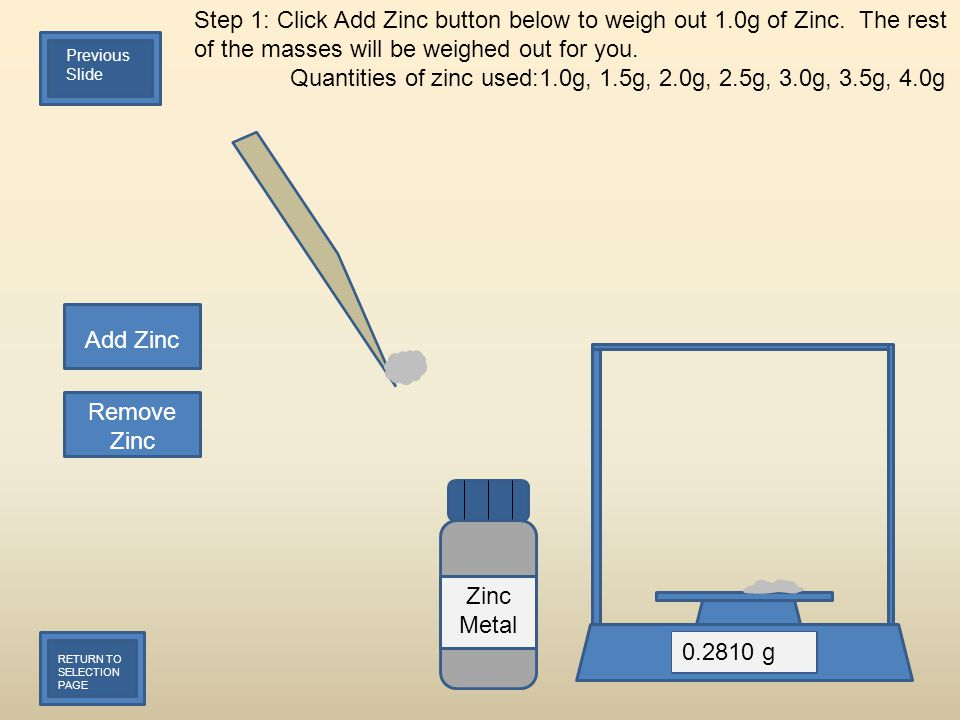 Step 1: Click Add Zinc button below to weigh out 1.0g of Zinc.