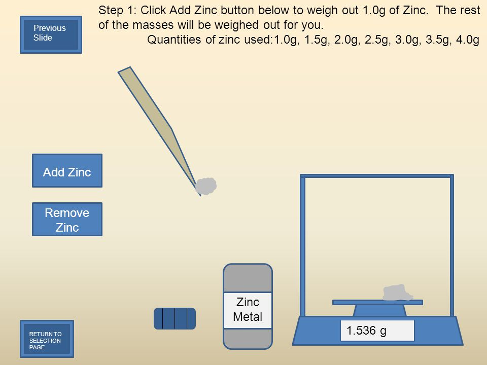 Step 1: Click Add Zinc button below to weigh out 1.0g of Zinc. The rest of the masses will be weighed out for you. Quantities of zinc used:1.0g, 1.5g,