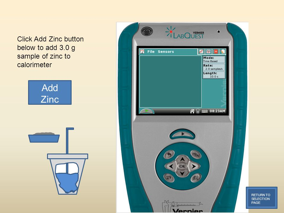 Click Add Zinc button below to add 3.0 g sample of zinc to calorimeter RETURN TO SELECTION PAGE Add Zinc