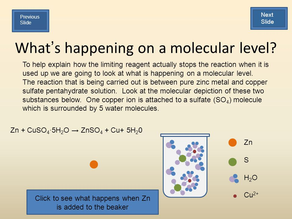 Whats happening on a molecular level? To help explain how the limiting reagent actually stops the reaction when it is used up we are going to look at