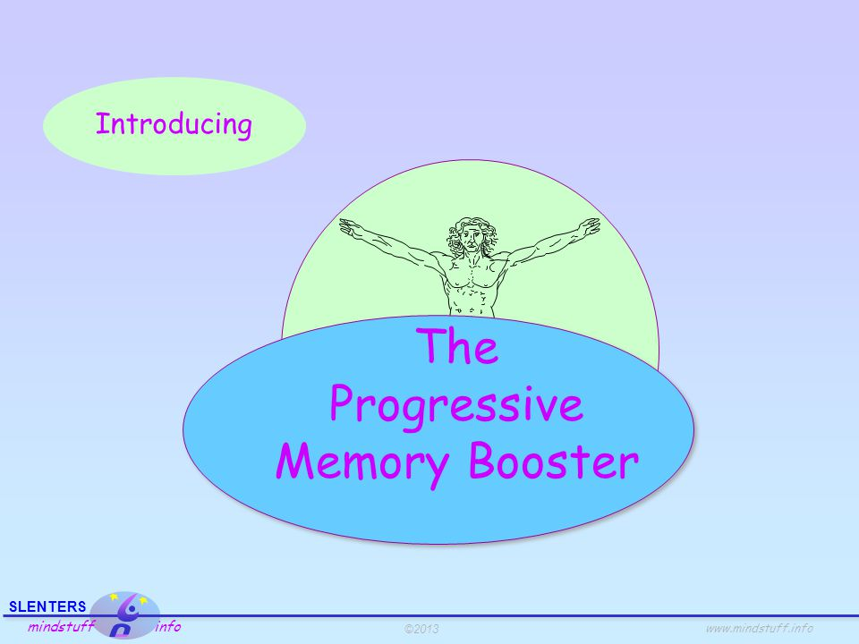 ©2013 SLENTERS mindstuff info www.mindstuff.info The Progressive Memory Booster Memorizing words A boring presentation Beginning End Amount of recall A lively presentation Beginning End Amount of recall Transitions Facts about recall: