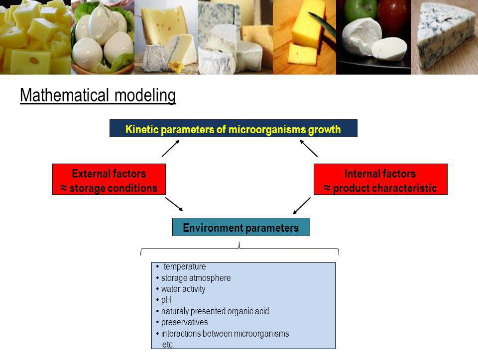Mathematical modeling Kinetic parameters of microorganisms growth External factors storage conditions Internal factors product characteristic Environm