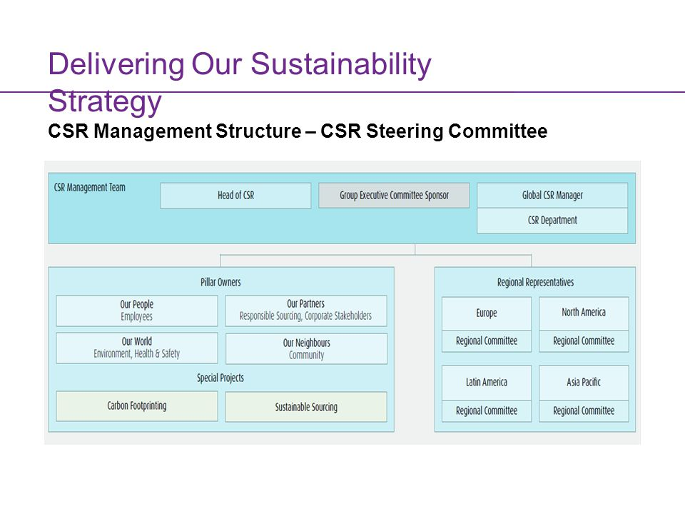 Innovating for a Sustainable Future Delivering Our Sustainability Strategy CSR Management Structure – CSR Steering Committee