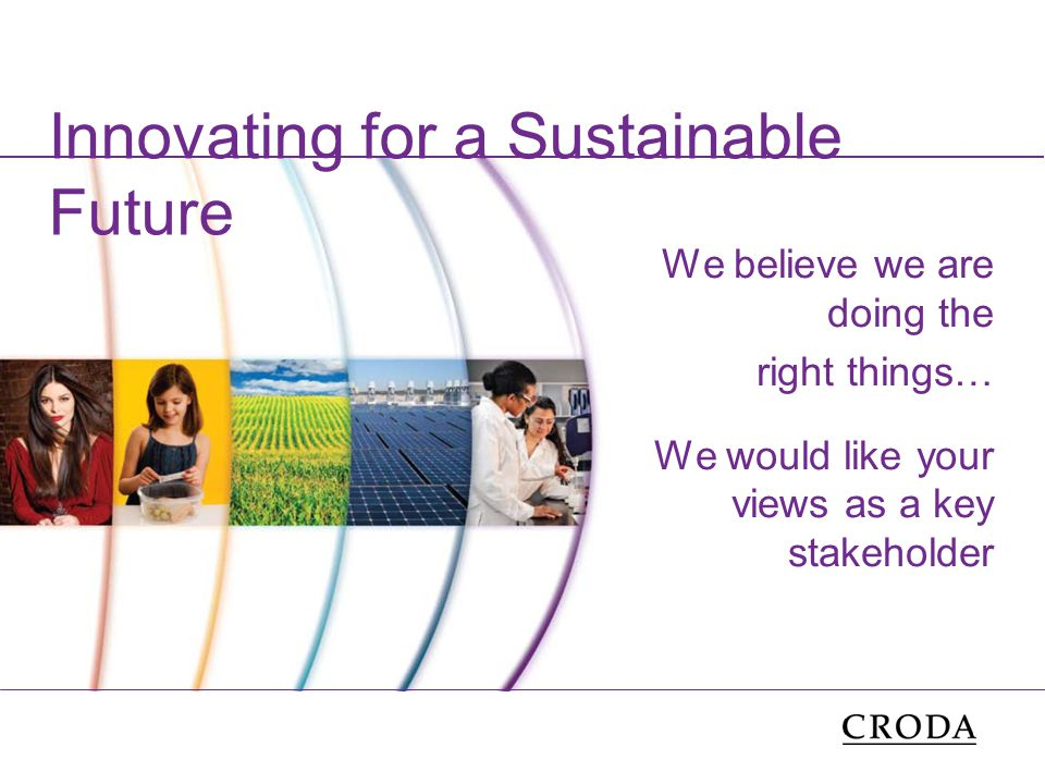 Innovating for a Sustainable Future We believe we are doing the right things… We would like your views as a key stakeholder