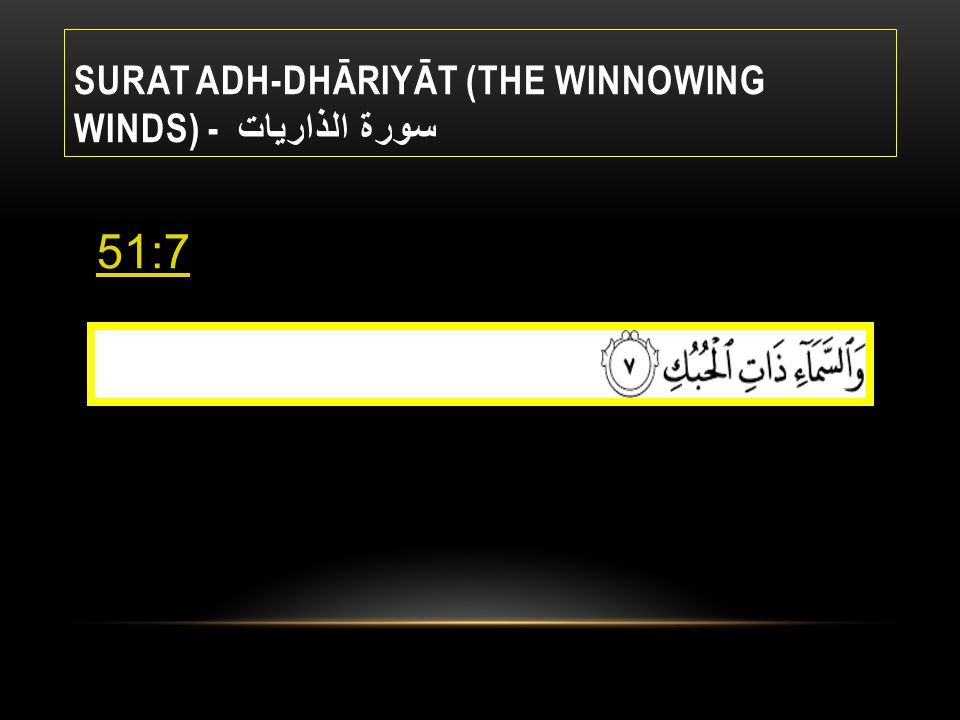 51.7 ADH-DHARIYAT Sahih International By the heaven containing pathways, Muhsin Khan By the heaven full of paths,