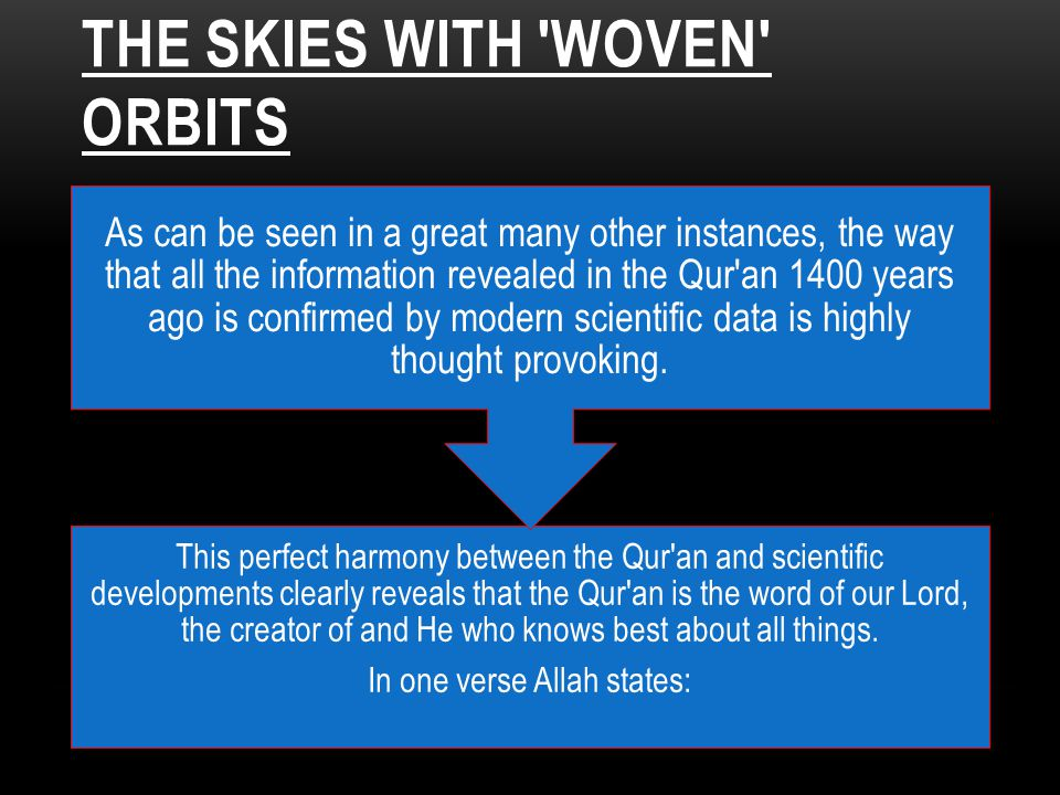 THE SKIES WITH 'WOVEN' ORBITS This perfect harmony between the Qur'an and scientific developments clearly reveals that the Qur'an is the word of our L