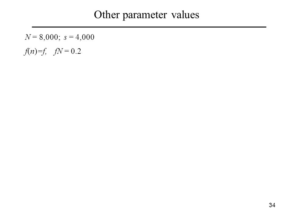 34 Other parameter values N = 8,000; s = 4,000 f(n)=f, fN = 0.2