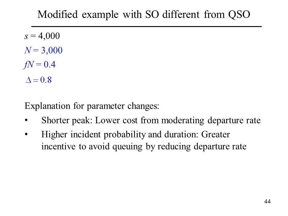 44 Modified example with SO different from QSO s = 4,000 N = 3,000 fN = 0.4 Explanation for parameter changes: Shorter peak: Lower cost from moderating departure rate Higher incident probability and duration: Greater incentive to avoid queuing by reducing departure rate