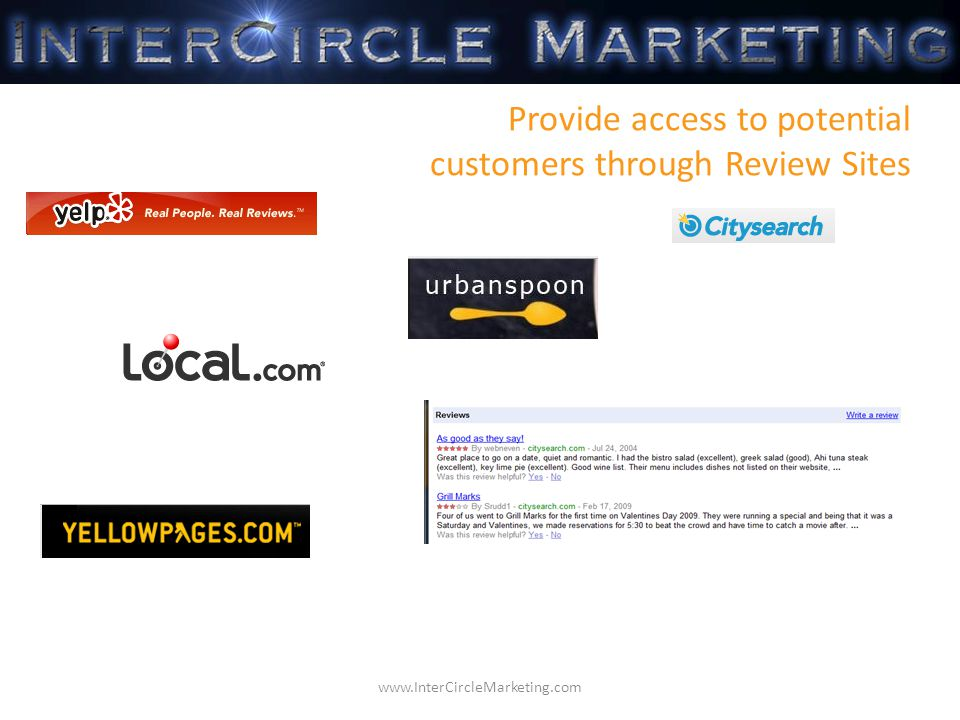 Provide access to potential customers through Review Sites www.InterCircleMarketing.com