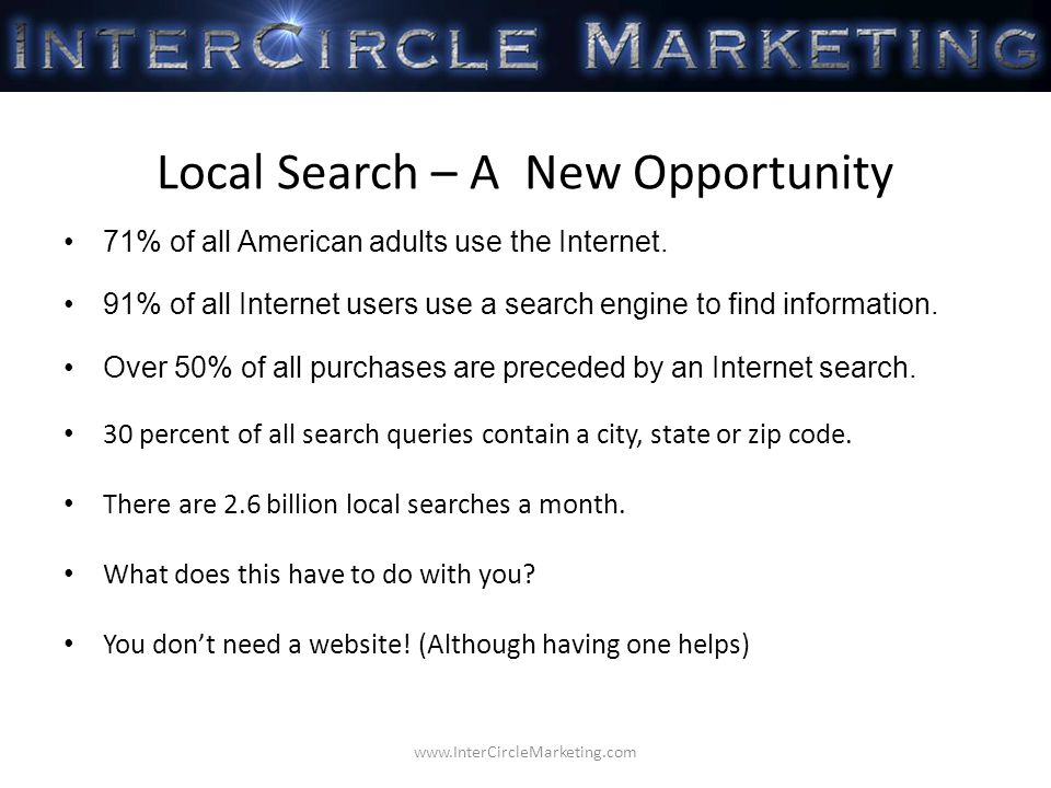 Local Search – A New Opportunity 71% of all American adults use the Internet.