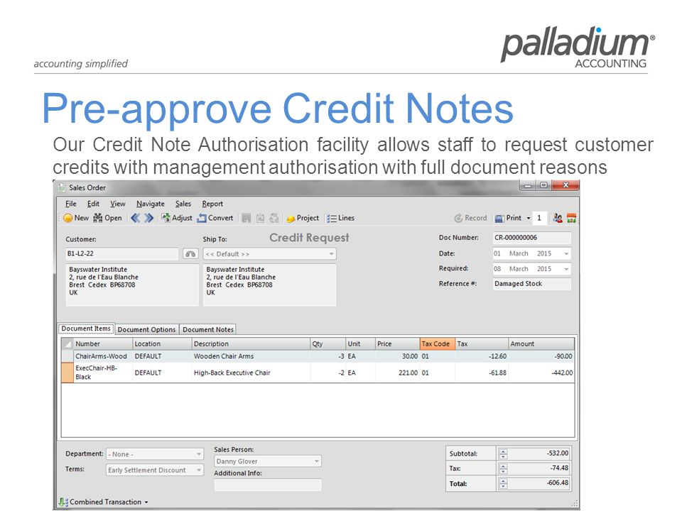 Pre-approve Credit Notes Our Credit Note Authorisation facility allows staff to request customer credits with management authorisation with full document reasons