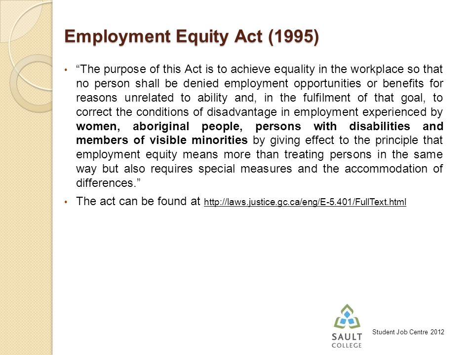 Student Job Centre 2012 Employment Equity Act (1995) The purpose of this Act is to achieve equality in the workplace so that no person shall be denied employment opportunities or benefits for reasons unrelated to ability and, in the fulfilment of that goal, to correct the conditions of disadvantage in employment experienced by women, aboriginal people, persons with disabilities and members of visible minorities by giving effect to the principle that employment equity means more than treating persons in the same way but also requires special measures and the accommodation of differences.