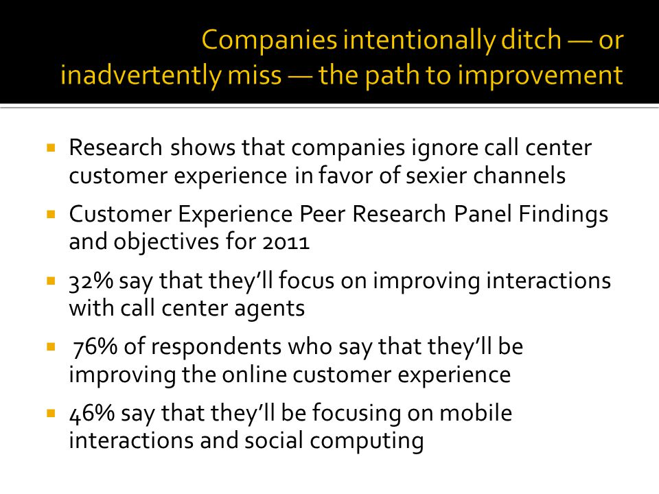 Research shows that companies ignore call center customer experience in favor of sexier channels Customer Experience Peer Research Panel Findings and