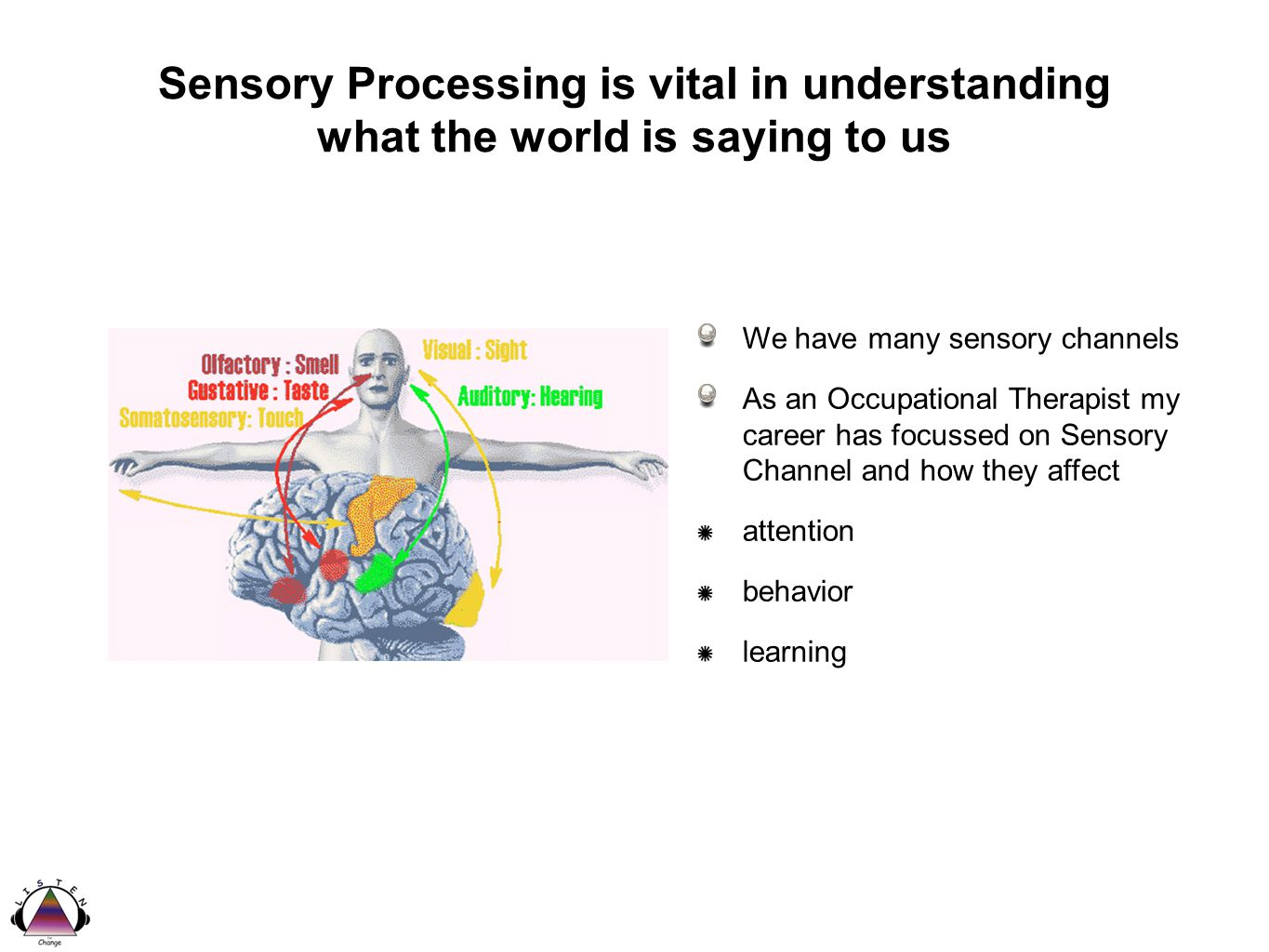 Sensory Processing is vital in understanding what the world is saying to us We have many sensory channels As an Occupational Therapist my career has focussed on Sensory Channel and how they affect attention behavior learning