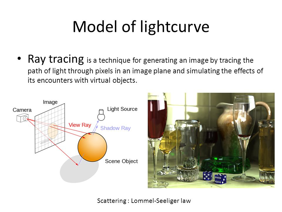 Model of lightcurve Ray tracing is a technique for generating an image by tracing the path of light through pixels in an image plane and simulating the effects of its encounters with virtual objects.