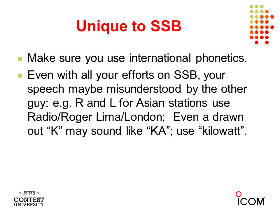 Unique to SSB Make sure you use international phonetics.