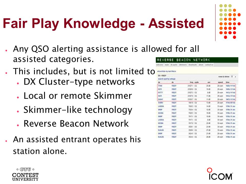 Fair Play Knowledge - Assisted Any QSO alerting assistance is allowed for all assisted categories.